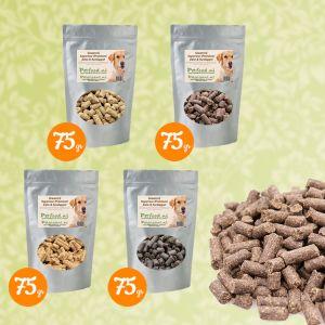 Geperste Hondenbrokken - Proefpakketje - 4 Samples naar keuze € 1,99 thuisbezorgd!
