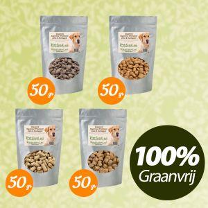 Graanvrij & Gehydrolyseerd Hondenvoer - Proefpakketje - 4 Samples naar keuze € 1,99 thuisbezorgd!
